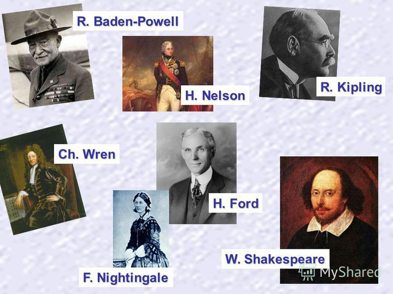 H. Nelson W. Shakespeare R. Kipling H. Ford F. Nightingale R. Baden-Powell Ch. Wren