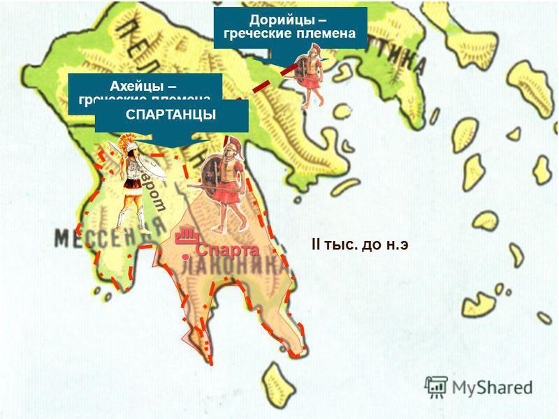 р. Эврот Дорийцы – греческие племена Ахейцы – греческие племена Спарта II тыс. до н.э СПАРТАНЦЫ