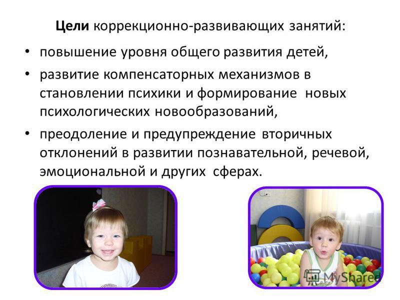 Цели коррекционно-развивающих занятий: повышение уровня общего развития детей, развитие компенсаторных механизмов в становлении психики и формирование новых психологических новообразований, преодоление и предупреждение вторичных отклонений в развитии