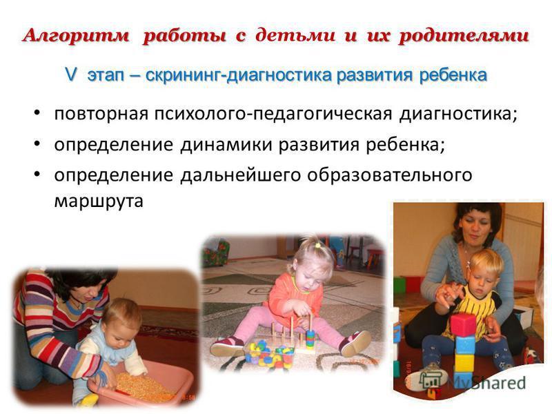 Алгоритм работы с и их родителями Алгоритм работы с детьми и их родителями V этап – скрининг-диагностика развития ребенка повторная психолого-педагогическая диагностика; определение динамики развития ребенка; определение дальнейшего образовательного