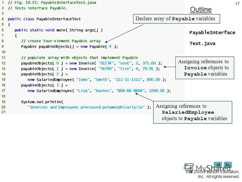 2005 Pearson Education, Inc. All rights reserved. 17 Outline PayableInterface Test.java (1 of 2) Declare array of Payable variables Assigning references to Invoice objects to Payable variables Assigning references to SalariedEmployee objects to Payab