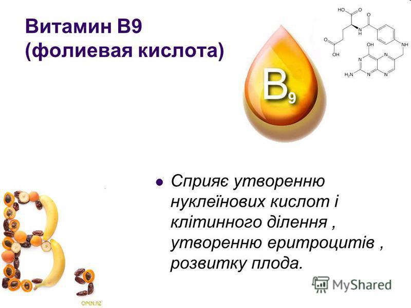 Витамин В9 (фолиевая кислота) Сприяє утворенню нуклеїнових кислот і клітинного ділення, утворенню еритроцитів, розвитку плода.