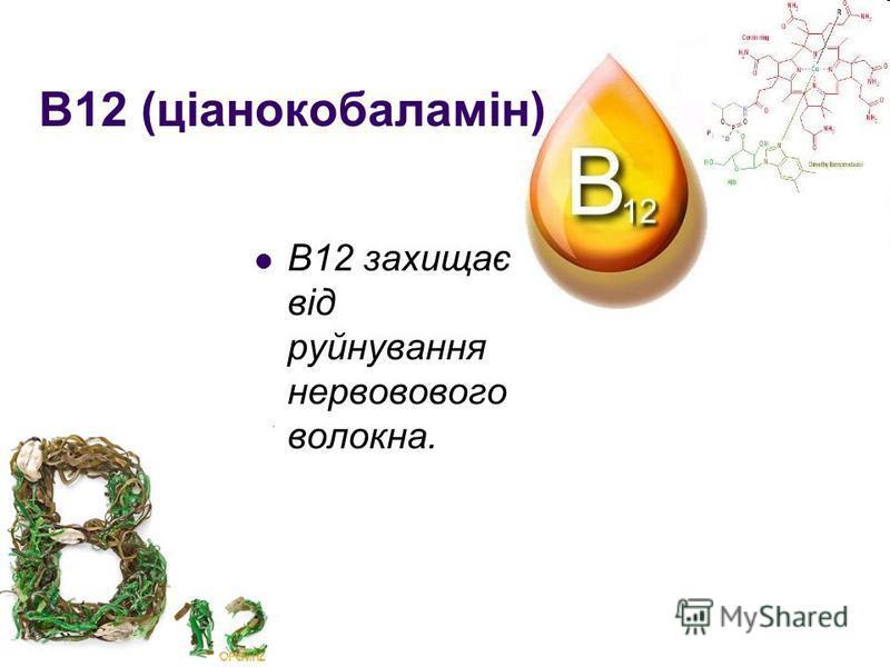 В12 (ціанокобаламін) В12 захищає від руйнування нервовового волокна.