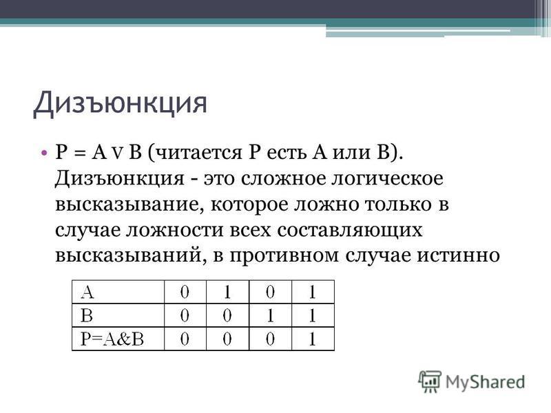 Дизъюнкция Р = А V В (читается Р есть А или В). Дизъюнкция - это сложное логическое высказывание, которое ложно только в случае ложности всех составляющих высказываний, в противном случае истинно