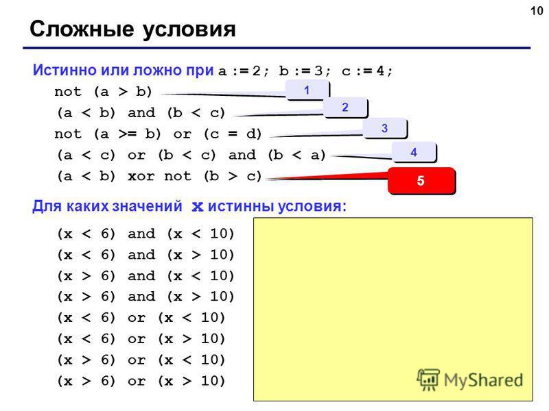 10 Истинно или ложно при a := 2; b := 3; c := 4; not (a > b) (a < b) and (b < c) not (a >= b) or (c = d) (a < c) or (b < c) and (b < a) (a c) Для каких значений x истинны условия: (x < 6) and (x < 10) (x 10) (x > 6) and (x < 10) (x > 6) and (x > 10)