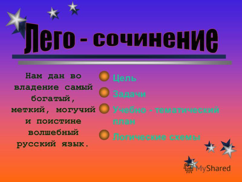 Цель Задачи Учебно - тематический план Логические схемы Нам дан во владение самый богатый, меткий, могучий и поистине волшебный русский язык.