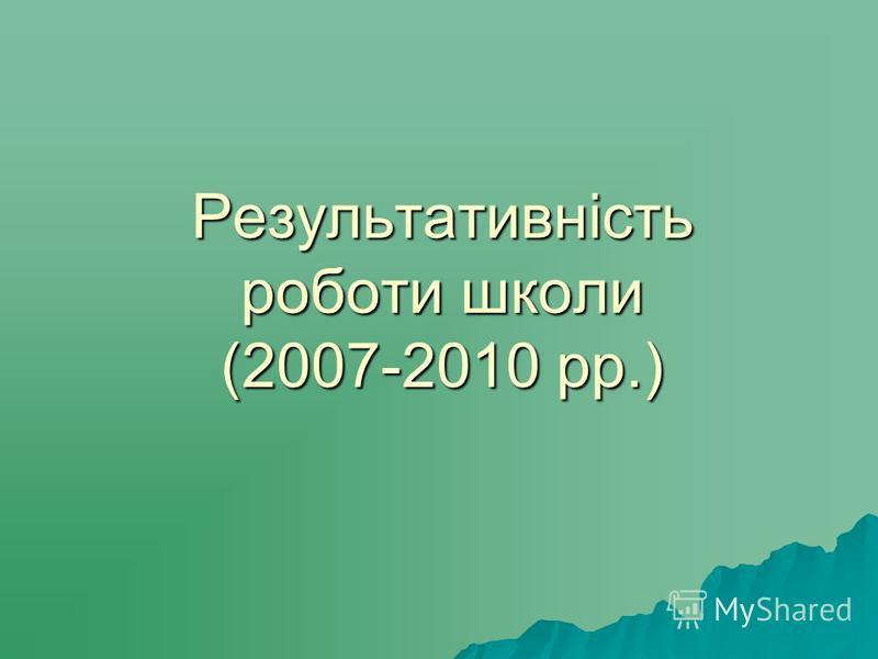 Результативність роботи школи (2007-2010 рр.)
