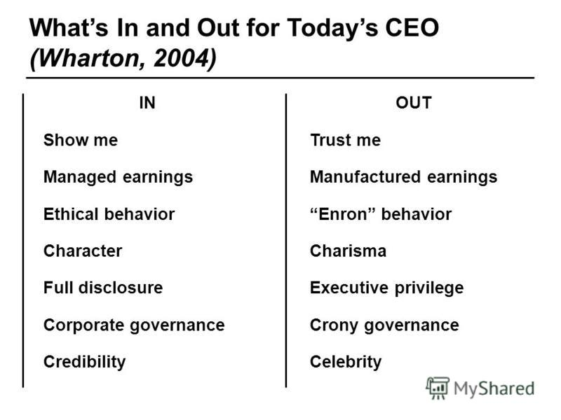 Some of our clients Whats In and Out for Todays CEO (Wharton, 2004) IN Show me Managed earnings Ethical behavior Character Full disclosure Corporate governance Credibility OUT Trust me Manufactured earnings Enron behavior Charisma Executive privilege
