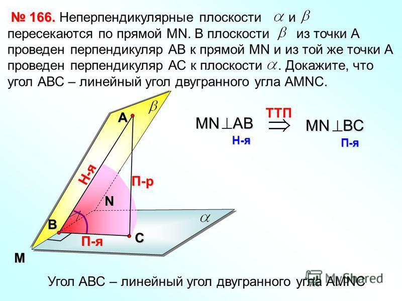 Неперпендикулярные плоскости и пересекаются по прямой МN. В плоскости из точки А проведен перпендикуляр АВ к прямой МN и из той же точки А проведен перпендикуляр АС к плоскости. Докажите, что угол АВС – линейный угол двугранного угла АМNC. 166. 166.