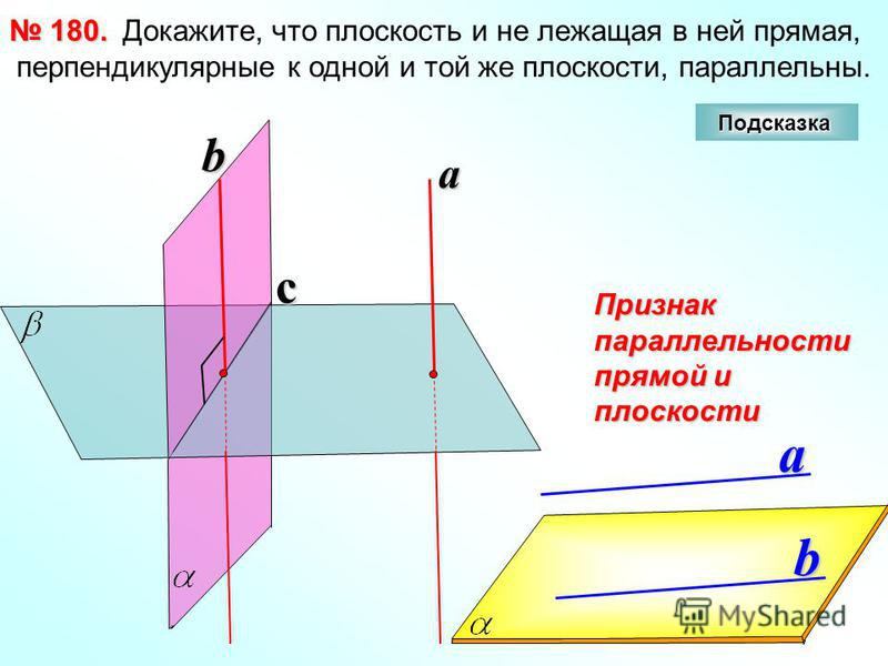 Докажите, что плоскость и не лежащая в ней прямая, перпендикулярные к одной и той же плоскости, параллельны. 180. 180. cb a a b Признак параллельности прямой и плоскости Подсказка