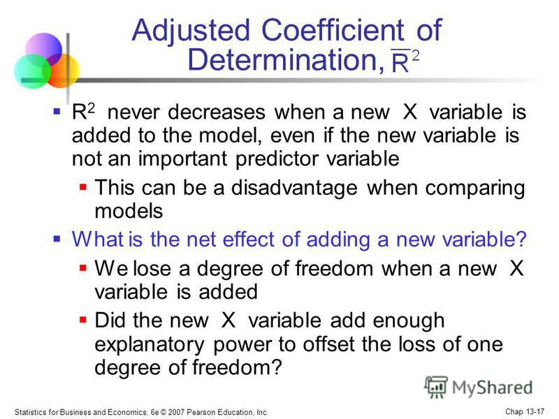Statistics for Business and Economics, 6e © 2007 Pearson Education, Inc. Chap 13-17 Adjusted Coefficient of Determination, R 2 never decreases when a new X variable is added to the model, even if the new variable is not an important predictor variabl
