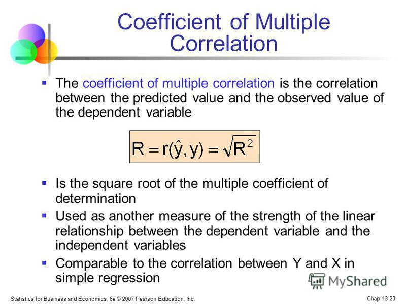 Statistics for Business and Economics, 6e © 2007 Pearson Education, Inc. Chap 13-20 Coefficient of Multiple Correlation The coefficient of multiple correlation is the correlation between the predicted value and the observed value of the dependent var