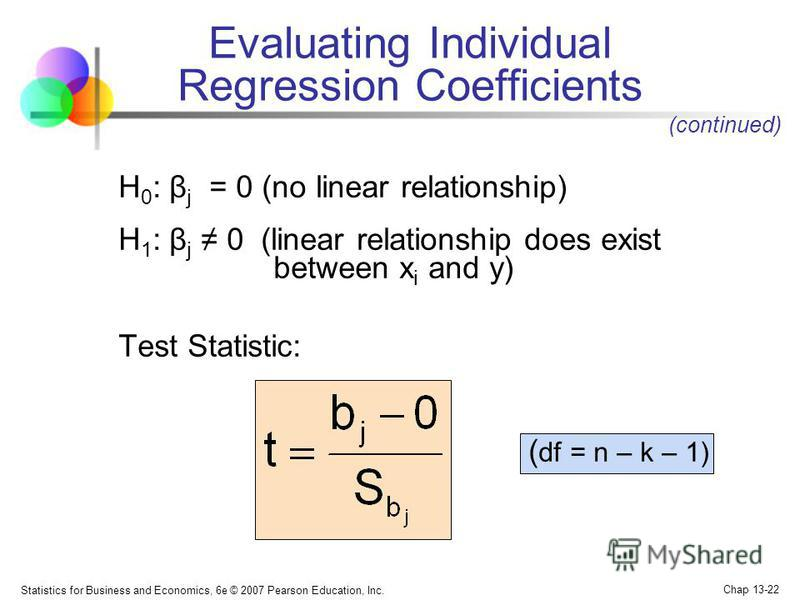 Statistics for Business and Economics, 6e © 2007 Pearson Education, Inc. Chap 13-22 H 0 : β j = 0 (no linear relationship) H 1 : β j 0 (linear relationship does exist between x i and y) Test Statistic: ( df = n – k – 1) (continued) Evaluating Individ