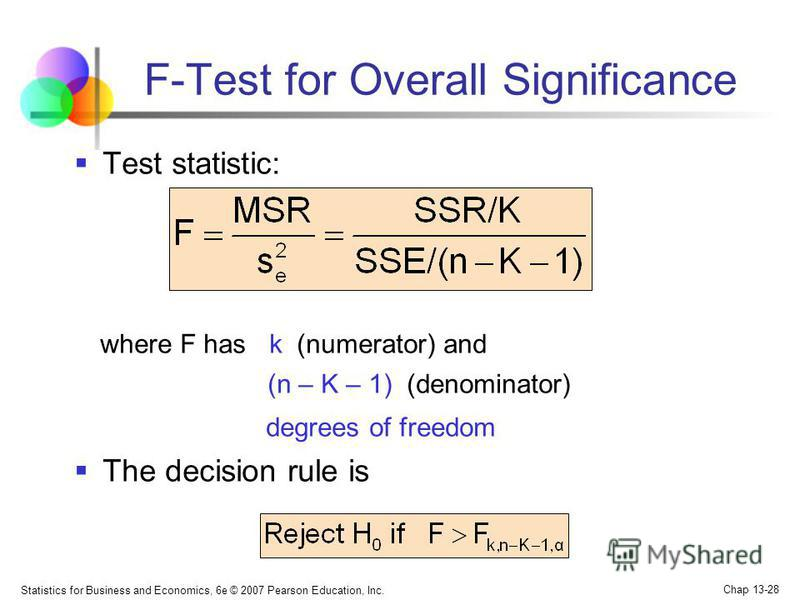 Statistics for Business and Economics, 6e © 2007 Pearson Education, Inc. Chap 13-28 F-Test for Overall Significance Test statistic: where F has k (numerator) and (n – K – 1) (denominator) degrees of freedom The decision rule is