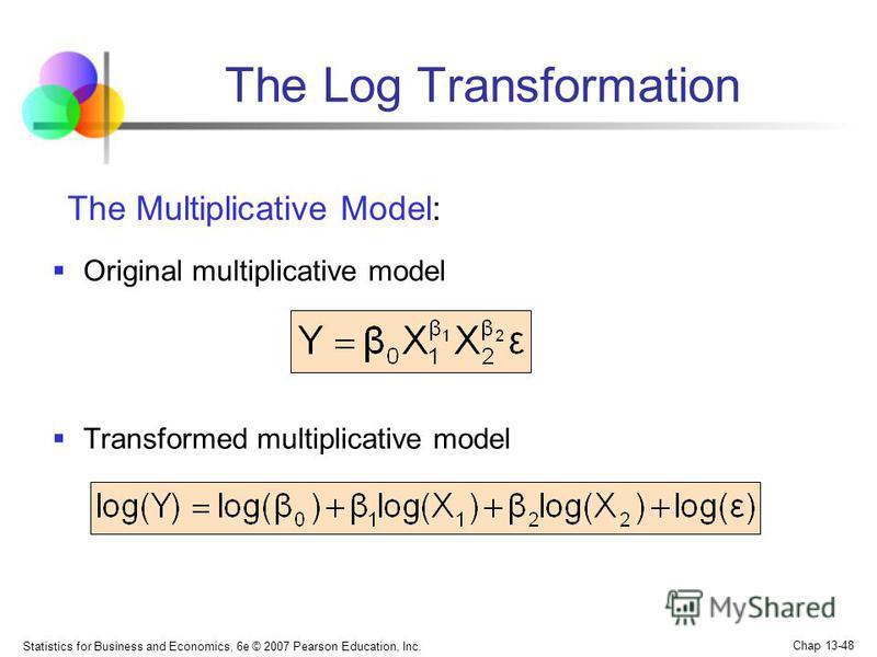 Statistics for Business and Economics, 6e © 2007 Pearson Education, Inc. Chap 13-48 Original multiplicative model Transformed multiplicative model The Log Transformation The Multiplicative Model: