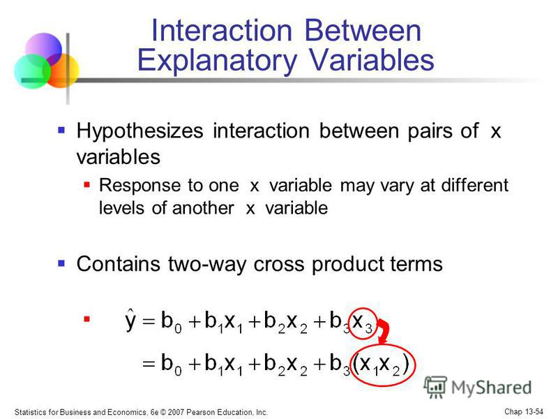 Statistics for Business and Economics, 6e © 2007 Pearson Education, Inc. Chap 13-54 Interaction Between Explanatory Variables Hypothesizes interaction between pairs of x variables Response to one x variable may vary at different levels of another x v