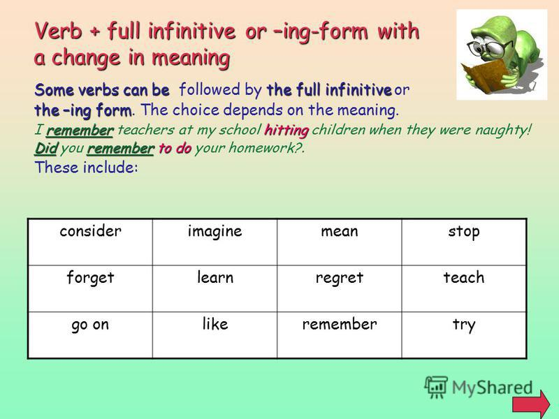 Verb + full infinitive or –ing-form with a change in meaning Some verbs can be the full infinitive Some verbs can be followed by the full infinitive or the –ing form the –ing form. The choice depends on the meaning. rememberhitting I remember teacher