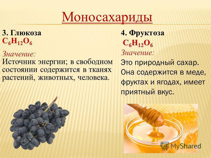 Моносахариды 3. Глюкоза С 6 Н 12 О 6 Значение: Источник энергии; в свободном состоянии содержится в тканях растений, животных, человека. 4. Фруктоза С 6 Н 12 О 6 С 6 Н 12 О 6 Значение: Это природный сахар. Она содержится в меде, фруктах и ягодах, име