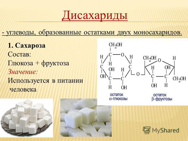 Дисахариды - углеводы, образованные остатками двух моносахаридов. 1. Сахароза Состав: Глюкоза + фруктоза Значение: Используется в питании человека