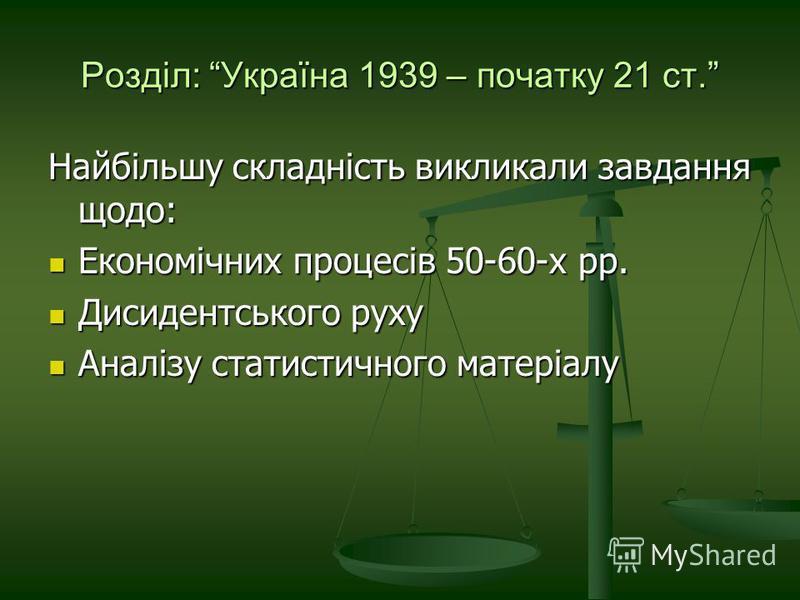 Розділ: Україна 1939 – початку 21 ст. Найбільшу складність викликали завдання щодо: Економічних процесів 50-60-х рр. Економічних процесів 50-60-х рр. Дисидентського руху Дисидентського руху Аналізу статистичного матеріалу Аналізу статистичного матері