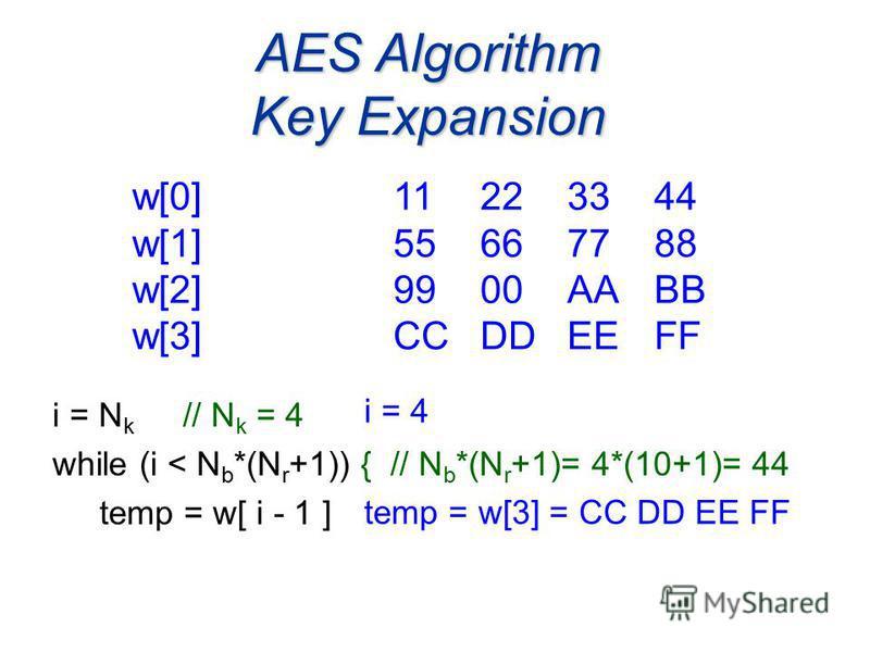i = N k // N k = 4 while (i < N b *(N r +1)) { // N b *(N r +1)= 4*(10+1)= 44 temp = w[ i - 1 ] AES Algorithm Key Expansion w[0]11223344 w[1] 55667788 w[2] 9900AABB w[3] CCDDEEFF i = 4 temp = w[3] = CC DD EE FF