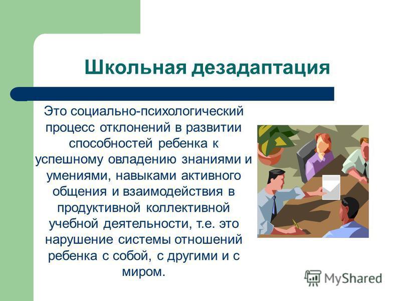 Школьная дезадаптация Это социально-психологический процесс отклонений в развитии способностей ребенка к успешному овладению знаниями и умениями, навыками активного общения и взаимодействия в продуктивной коллективной учебной деятельности, т.е. это н