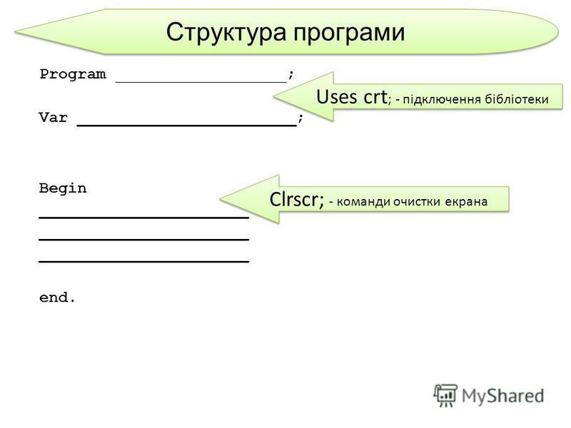 Структура програми Program __________________; Var _______________________; Begin ______________________ end. Uses crt ; - підключення бібліотеки Clrscr; - команди очистки екрана