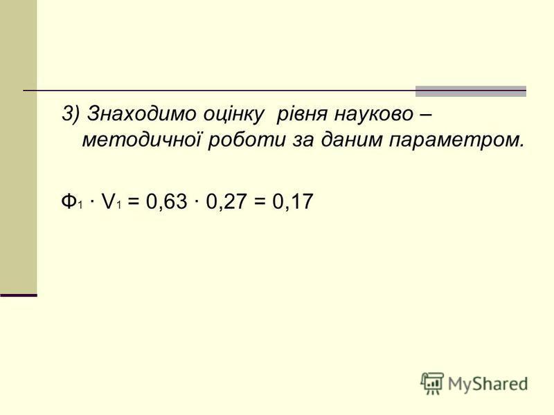 3) Знаходимо оцінку рівня науково – методичної роботи за даним параметром. Ф 1 · V 1 = 0,63 · 0,27 = 0,17