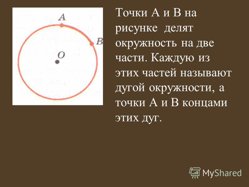 Точки А и В на рисунке делят окружность на две части. Каждую из этих частей называют дугой окружности, а точки А и В концами этих дуг.