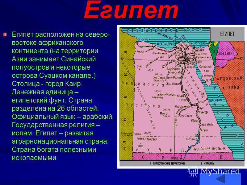 Египет Египет расположен на северо- востоке африканского континента (на территории Азии занимает Синайский полуостров и некоторые острова Суэцком канале.) Столица - город Каир. Денежная единица – египетский фунт. Страна разделена на 26 областей. Офиц