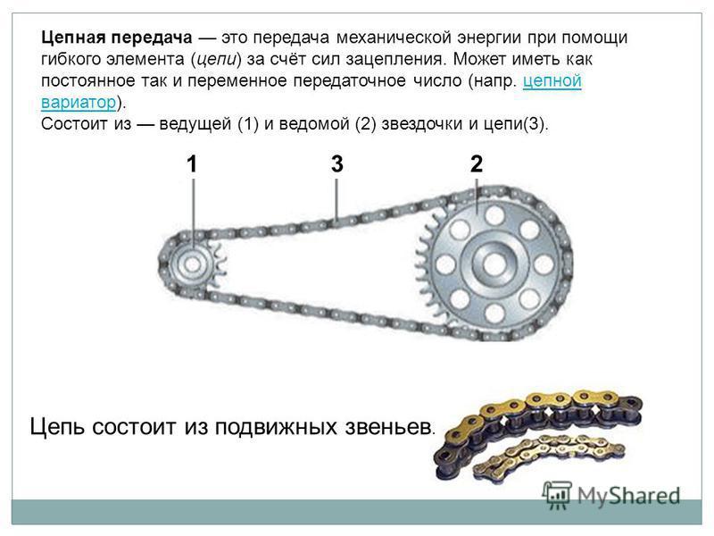 Цепная передача это передача механической энергии при помощи гибкого элемента (цепи) за счёт сил зацепления. Может иметь как постоянное так и переменное передаточное число (напр. цепной вариатор).цепной вариатор Состоит из ведущей (1) и ведомой (2) з