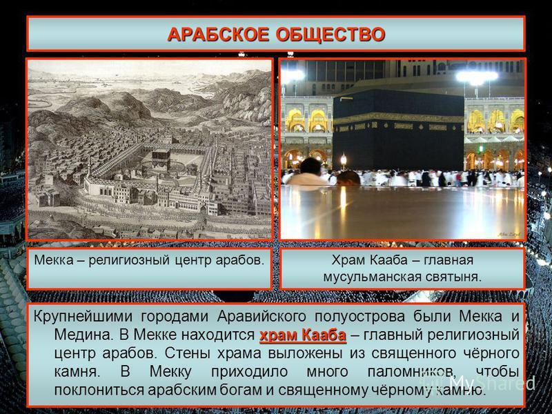 АРАБСКОЕ ОБЩЕСТВО храм Кааба Крупнейшими городами Аравийского полуострова были Мекка и Медина. В Мекке находится храм Кааба – главный религиозный центр арабов. Стены храма выложены из священного чёрного камня. В Мекку приходило много паломников, чтоб