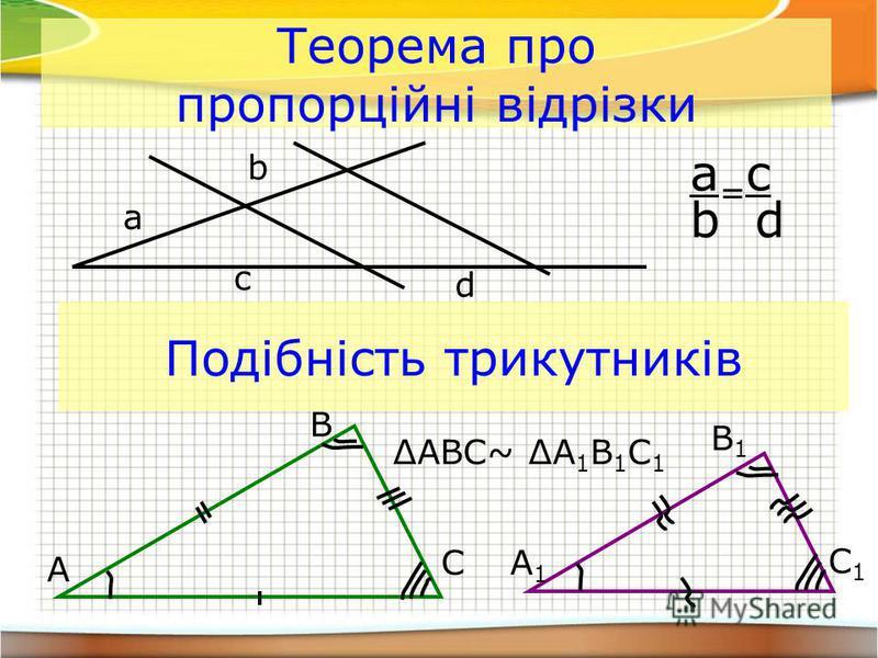 Теорема про пропорційні відрізки a b c d a = c b d Подібність трикутників A A1A1 C B C1C1 B1B1 ABC~ A 1 B 1 C 1
