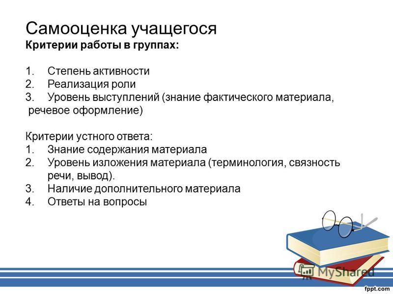 Самооценка учащегося Критерии работы в группах: 1. Степень активности 2. Реализация роли 3. Уровень выступлений (знание фактического материала, речевое оформление) Критерии устного ответа: 1. Знание содержания материала 2. Уровень изложения материала