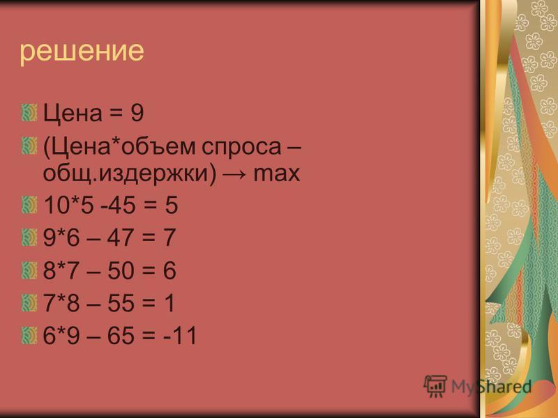 решение Цена = 9 (Цена*объем спроса – общ.издержки) max 10*5 -45 = 5 9*6 – 47 = 7 8*7 – 50 = 6 7*8 – 55 = 1 6*9 – 65 = -11