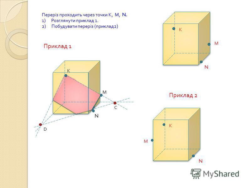 Переріз проходить через точки К, М, N. 1) Розглянути приклад 1. 2) Побудувати переріз ( приклад 2) К М N C D N М К Приклад 1 К М N Приклад 2