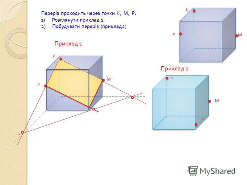 Переріз проходить через точки К, М, Р. 1) Розглянути приклад 1. 2) Побудувати переріз ( приклад 2) К М Р М К Р Приклад 1 М К Р Приклад 2
