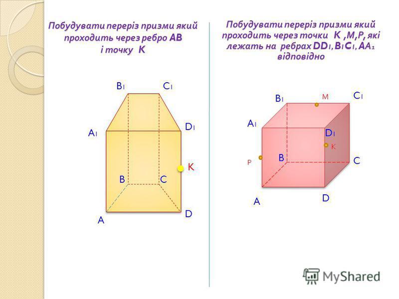 A D K A1A1 B1B1 C1C1 D1D1 Побудувати переріз призми який проходить через ребро AB і точку K BC К М Р Побудувати переріз призми який проходить через точки K, М, Р, які лежать на ребрах DD 1, B 1 C 1, A А 1 відповідно A A1A1 D D1D1 B1B1 C1C1 C B