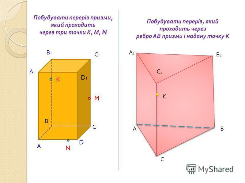 Побудувати переріз призми, який проходить через три точки К, М, N А С В А1А1 D В1В1 С1С1 D1D1 K M N А С В В1В1 А1А1 К С1С1 Побудувати переріз, який проходить через ребро АВ призми і надану точку К