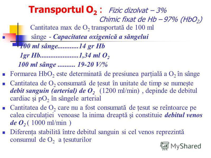 Transportul O 2 : Fizic dizolvat – 3% Chimic fixat de Hb – 97% (HbO 2 ) Cantitatea max de O 2 transportată de 100 ml sânge - Capacitatea oxigenică a săngelui 100 ml sânge............14 gr Hb 1gr Hb......................1,34 ml O 2 100 ml sânge.......
