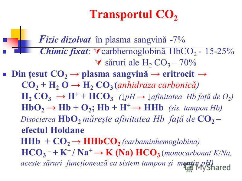 Transportul CO 2 F izic dizolvat în plasma sangvină -7% Chimic fixat: carbhemoglobină HbCO 2 - 15-25% săruri ale H 2 CO 3 – 70% Din ţesut CO 2 plasma sangvină eritrocit CO 2 + H 2 O H 2 CO 3 (anhidraza carbonică) H 2 CO 3 H + + HCO 3 - (pH afinitatea