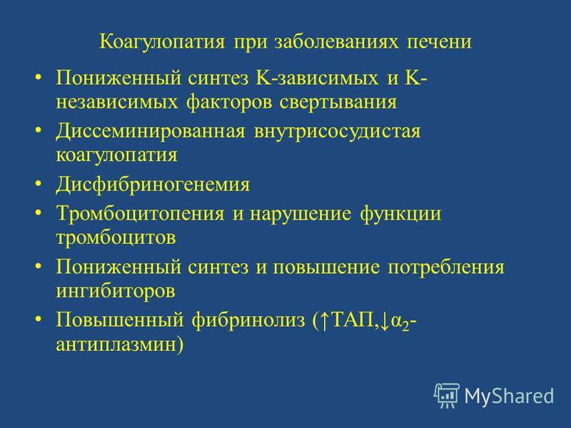 Коагулопатия при заболеваниях печени Пониженный синтез K-зависимых и K- независимых факторов свертывания Диссеминированная внутрисосудистая коагулопатия Дисфибриногенемия Тромбоцитопения и нарушение функции тромбоцитов Пониженный синтез и повышение п