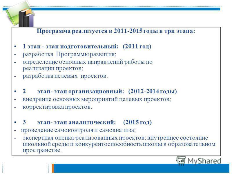 Программа реализуется в 2011-2015 годы в три этапа: 1 этап - этап подготовительный: (2011 год) -разработка Программы развития; -определение основных направлений работы по реализации проектов; -разработка целевых проектов. 2 этап- этап организационный