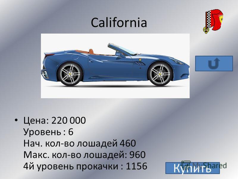 Enzo уровень:9 цена: 670 000+ 10 золотых монет нач. кол-во лошадей: 651 макс. кол-во лошадей: 1015 4 й уровень прокачки: 1161 Купить