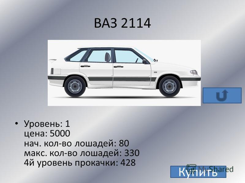 ВАЗ 2113 Уровень: 1 цена: 6000 нач. кол-во лошадей: 90 макс. кол-во лошадей: 380 4 й уровень прокачки: 628 Купить