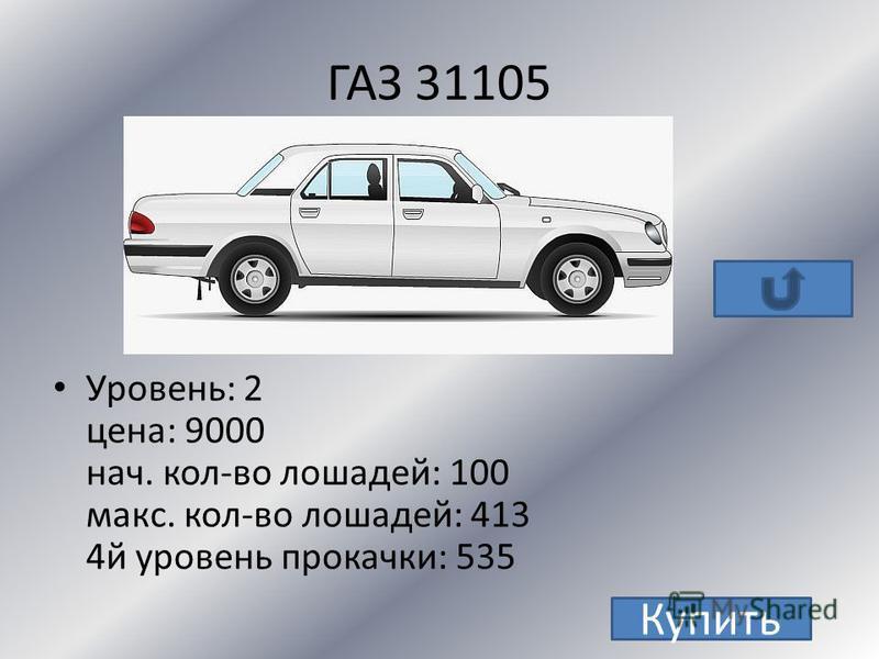 LADA 2170 Priora Уровень : 2 Цена : 11 000 Нач. кол-во лошадей : 98 Макс.кол-во лошадей :441 4 й уровень : 576 Купить