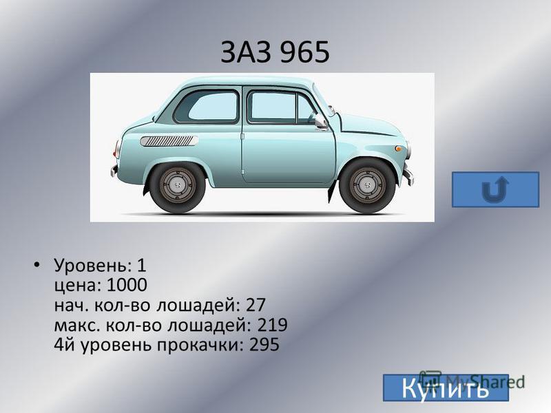 ГАЗ 31105 Уровень: 2 цена: 9000 нач. кол-во лошадей: 100 макс. кол-во лошадей: 413 4 й уровень прокачки: 535 Купить