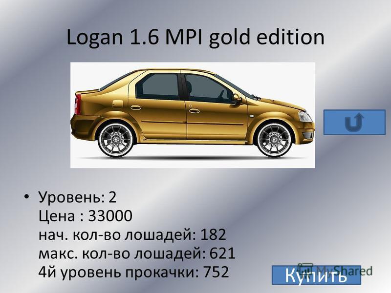 Logan 1.4 Уровень: 2 Цена : 13000 нач. кол-во лошадей: 102 макс. кол-во лошадей: 421 4 й уровень прокачки: 552 Купить