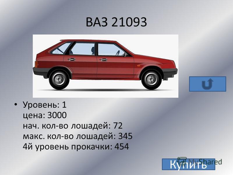 ВАЗ 2106 Уровень: 1 цена: 2500 нач. кол-во лошадей: 75 макс. кол-во лошадей: 331 4 й уровень прокачки: 435 Купить