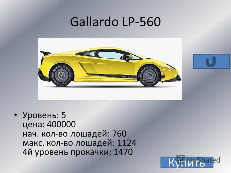 Murcielago LP-640 Уровень: 7 цена: 350000 + 3 з.м. нач. кол-во лошадей: 640 макс. кол-во лошадей: 1004 4 й уровень прокачки: 1150 Купить